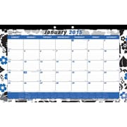 2015 Brownline® Monthly Desk Pad, Colorful Blossom Design, 17-3/4 x 10-7/8