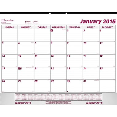 2015 Brownline® Monthly Desk Pad with vinyl holder, 22in. x 17in.