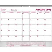 2015 Brownline® Monthly Desk Pad with vinyl holder, 22 x 17