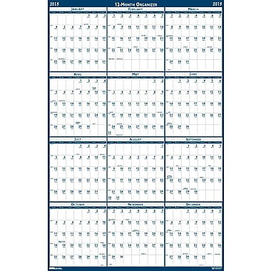 House of Doolittle™ 2015 , Monthly, January-December, Blue, Erasable Wall Calendar, 24in. x 37in.