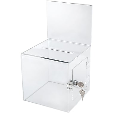 Square Acrylic Ballot Box, 8'' x 8'' x 8'' , with 5.5'' Sign Holder