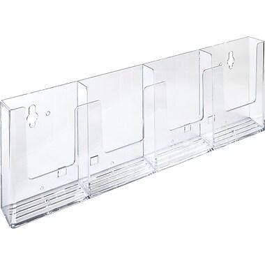 Acrylic Brochure Holders, Trifold x 4 Side by Side Wall Mount Slatwall/Grid