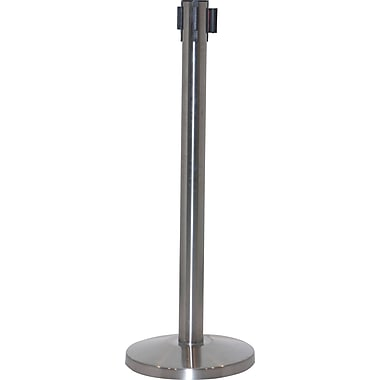 Crowd Control Barrier With Retractable Belt, Stainless Steel