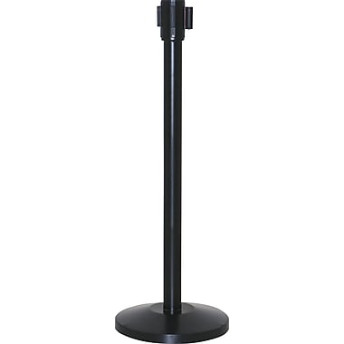 Crowd Control Barrier With Retractable Belt, Black Iron