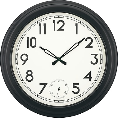 18in. Gallery Style Quartz Clock with Second Sweep Movement, Black