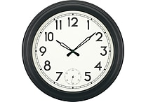 18' Gallery Style Quartz Clock with Second Sweep Movement, Black