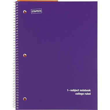 Staples® 1 Subject Poly Notebook, College Ruled, Purple, 8in. x 10-1/2in.