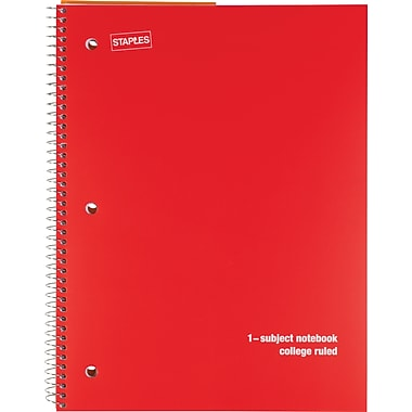 Staples® 1 Subject Poly Notebook, 8in. x 10-1/2in., College Ruled, Red