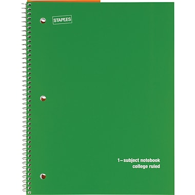 Staples® 1 Subject Poly Notebook, 8in. x 10-1/2in., College Ruled, Green