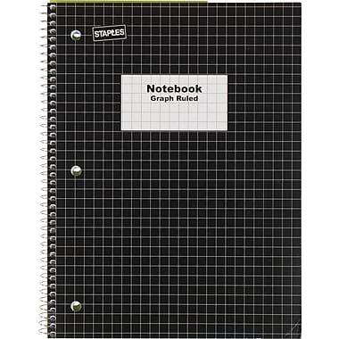 Staples® Graph Ruled 4x4 Spiral Notebook, 8in. x 10-1/2in., Black