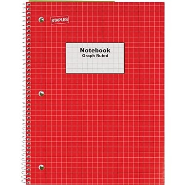 Staples® Graph Ruled 4x4 Spiral Notebook, 8in. x 10-1/2in., Red