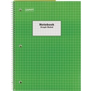 "Staples® Graph Ruled 4x4 Spiral Notebook, 8"" x 10-1/2"", Green"