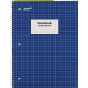 "Staples® Graph Ruled 4x4 Spiral Notebook, 8"" x 10-1/2"", Blue"