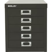 Bisley® 5 Drawer Steel Desktop Multidrawer Cabinet, Black