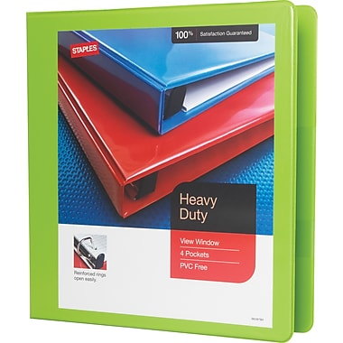 1-1/2in. Staples® Heavy-Duty View Binder with D-Rings, Chartreuse