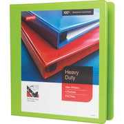 "1-1/2"" Staples® Heavy-Duty View Binder with D-Rings, Chartreuse"