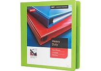 1-1/2' Staples® Heavy-Duty View Binder with D-Rings, Chartreuse