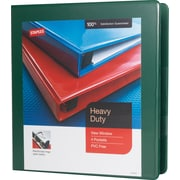 Staples Heavy-Duty 1.5-Inch D-Ring View Binder, Green (24682-US)