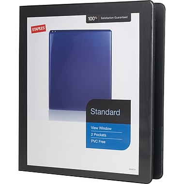 1in. Staples® Standard View Binder with D-Rings, Black
