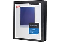 1' Staples® Standard View Binder with D-Rings, Black