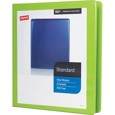 1in. Staples® Standard View Binder with D-Rings, Bright Green