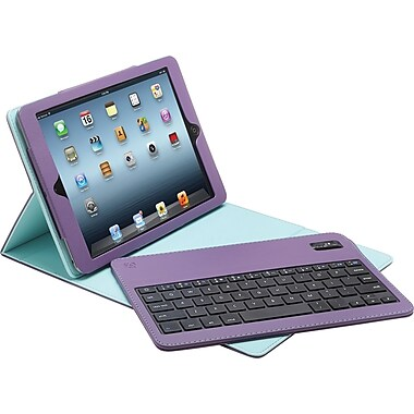 Aduro Facio Case with Bluetooth Removable Keyboard for iPad Air, Purple/Turquoise