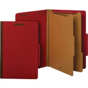 Staples® Brightly Colored Classification Folders, Legal, 2 Partitions, Red, Each