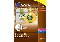 Avery® 22807 Easy Peel® Print-to-the-Edge in White Round Labels, Glossy, 2' Diameter, 120/Box