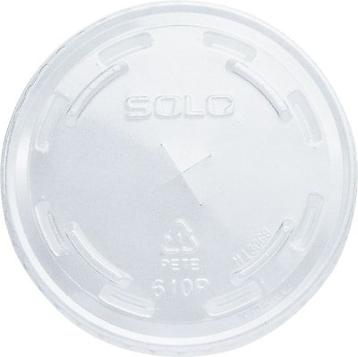 SOLO PET Plastic, Flat Cold Cup Lids with Straw Slot, 1,000/Case 241049