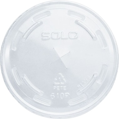 SOLO® PET Plastic, Flat Cold Cup Lids with Straw Slot, 1,000/Case