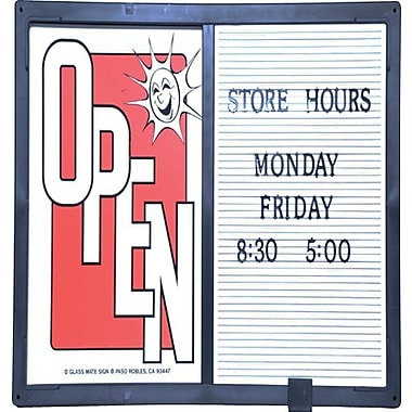 Open/Closed Sign W/ Message Board, Horizontal, Black