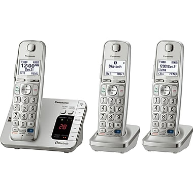 Panasonic KXTGE263S 3-Handset Cordless Phone with Bluetooth Cell Link