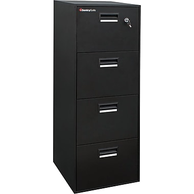 SentrySafe Fire File Vertical File, 4-Drawer, Black