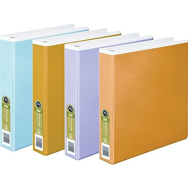 Wilson Jones® Tinted View Round Ring Binder, White with Assorted Color Overlay