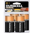 Duracell D Alkaline Batteries, 4/Pack