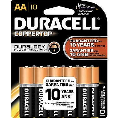 Duracell Coppertop AA Alkaline Batteries, 10/Pack