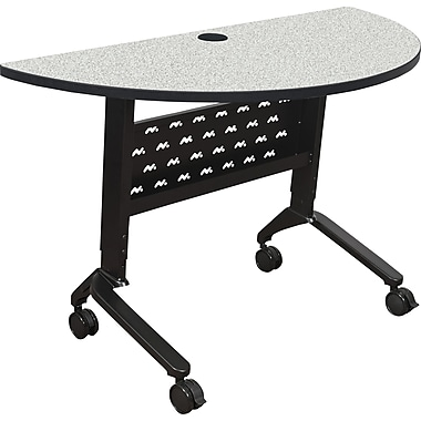 Nido Height Adjustable Flipper Table 4824 Half Round Table Grey Nebula