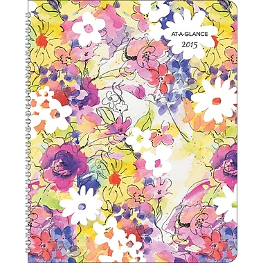 AT-A-GLANCE® Secret Garden Weekly/Monthly Planner, 8 1/2 x 11in., 2015