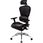At The Office 6 Series Black Leather High-Back Executive Chair, Black
