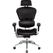 At The Office 6 Series Black Leather High-Back Executive Chair, Black Leather