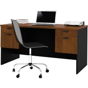 Bestar Hampton™ Executive Home Office Executive Desk, Tuscany Brown & Black