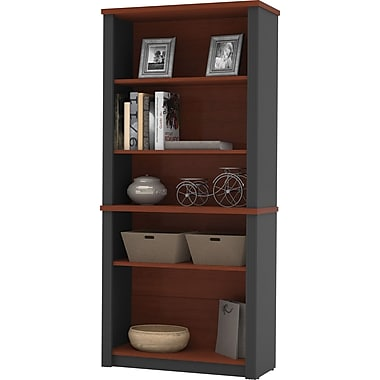 Bestar Prestige+ 5-Shelf Bookcase, Bordeaux Cherry/Graphite