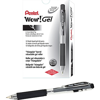 Pentel® WOW Retractable Gel-Ink Pens, Medium Point, Black, Dozen