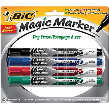 BIC Magic Marker® Brand Dry Erase Liquid Markers, Fine Tip, Assorted, 4/Pack