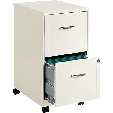 Office Designs Vertical Mobile File Cabinet, 18in. 2-Drawer, Letter Size, White