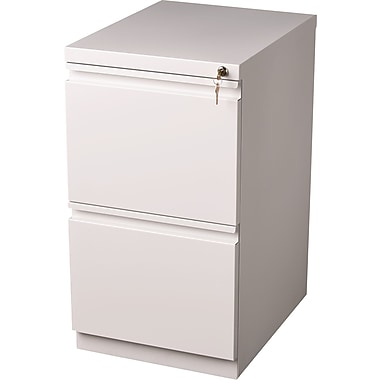 Staples 20in. Deep, 2-Drawer, Mobile Pedestal File, White