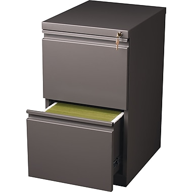 Staples 20in. Deep, 2-Drawer, Mobile Pedestal File, Medium Tone