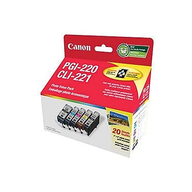 Canon® PGI-220/CLI-221 Black/Colour 20-Sheet Photo Paper Value Pack (2945B007)