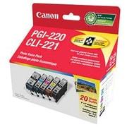 Canon® - Cartouches d'encre PGI-220/CLI-221 noir/couleur, papier photo 20 feuilles, paquet économique (2945B007)