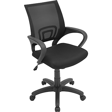 LumiSource Leather Computer and Desk Office Chair, Fixed Arms, Black (OFC-OFFCR BK)